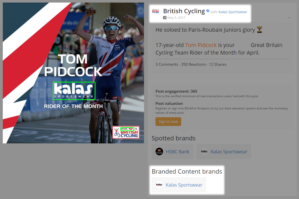 And now for our latest trick – supporting Facebook Branded Content on Blinkfire!