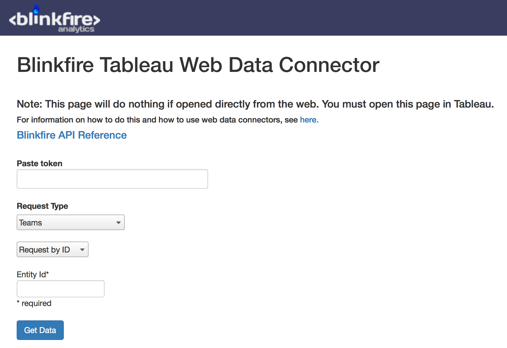 Blinkfire Tableau Web Data Connector