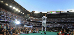 Ronaldo celebrating in front of crowd