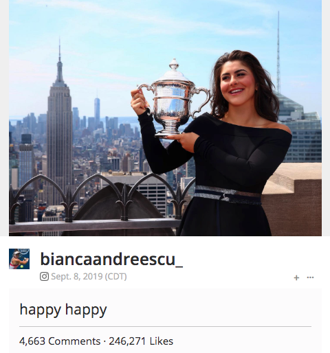 bianca andreescu holding us open trophy