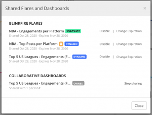 Blinkfire Shared Flares and Dashboards